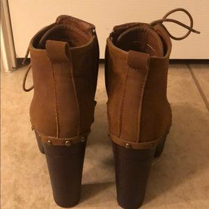 Brown suede bootie with gold studs